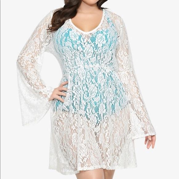 458e5367b3c7c torrid Swim   Bell Sleeve Lace Tunic Cover   Poshmark